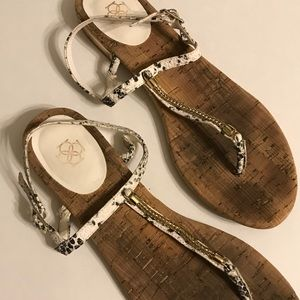 white thong sandals Ann Taylor pebbles leather